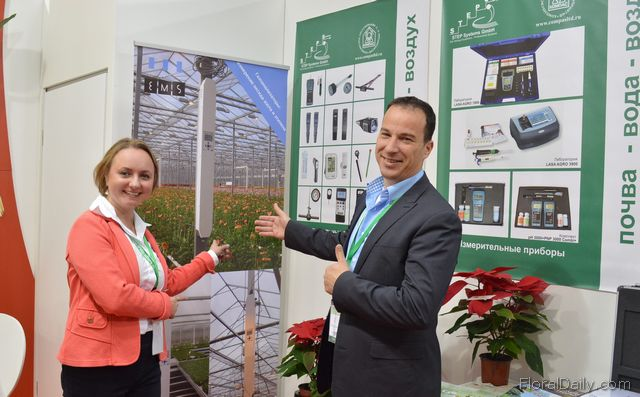 Anastasia Konarek of Step systems and Gertjan Bosman of EMS. The Greenhouse gas analyzer of EMS will be introduced to the Russian growers by STEPS.