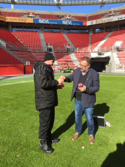 Harald Braungardt, Managing Director of STEP Systems and Georg Schmitz during the sports ground inspection in the BayArena